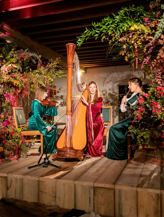 Medieval Trio perform for the banquet
